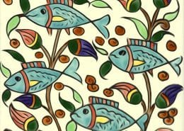 decorative hand painted tile fish
