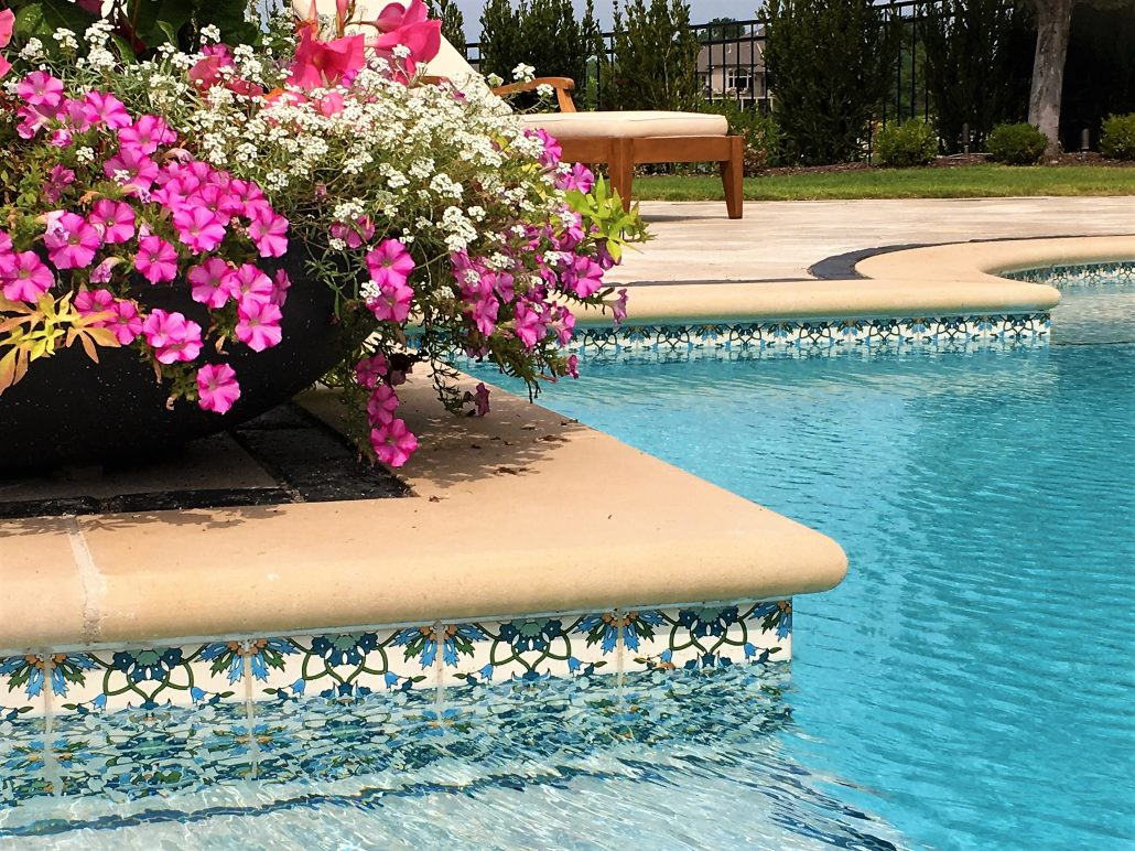 ceramic photos outdoor stock pool window mftapw photo blue pools tiles flowers decor swimming red decorative detail tiling planters box stone