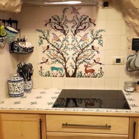 backsplash tile mural and countertop tiles