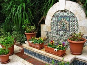 Fountain hand painted tiles