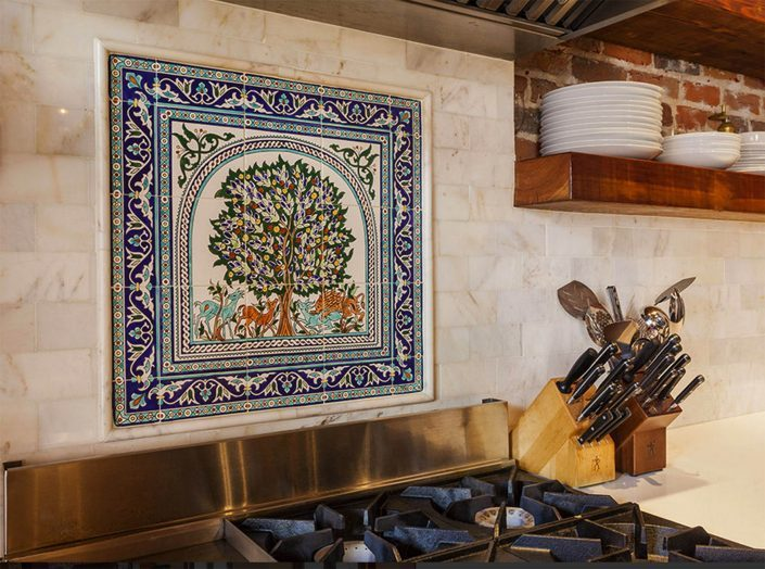 Hand painted kitchen tile backsplash mural