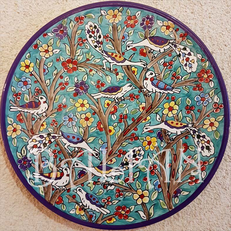 Large Hand Painted Ceramic Decorative Plates By The Balian