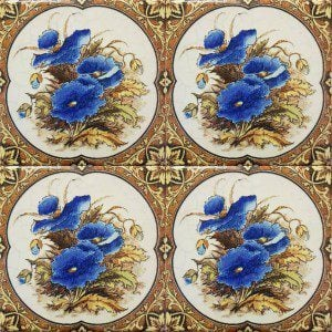 four blue poppy tiles together
